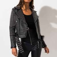 Fashion The Stones All Over Stud Black Moto Faux Leather Crop Jacket Women