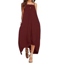 Женское платье без рукавов ZANZEA, Пляжное Платье до середины икры с асимметричным подолом и карманами для вечеринки, лето 2020(Китай)