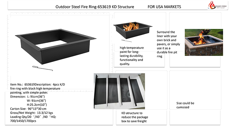 Heavy duty Square steel Fire Pit Ring DIY Insert