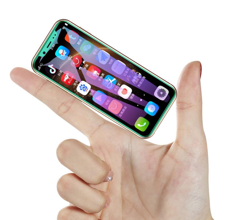 Android Mini akıllı telefon 64G çift SIM Dual Standby 4G cep telefonu yüz tanıma parmak izi kilidini dokunmatik küçük telefon