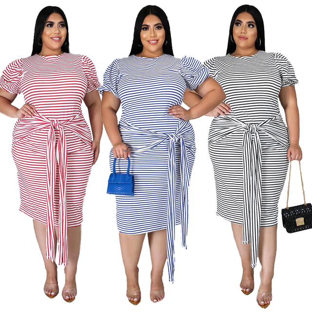 fashion sexy office work travel women's wear plus new round neck stripe short sleeve lace up casual dress