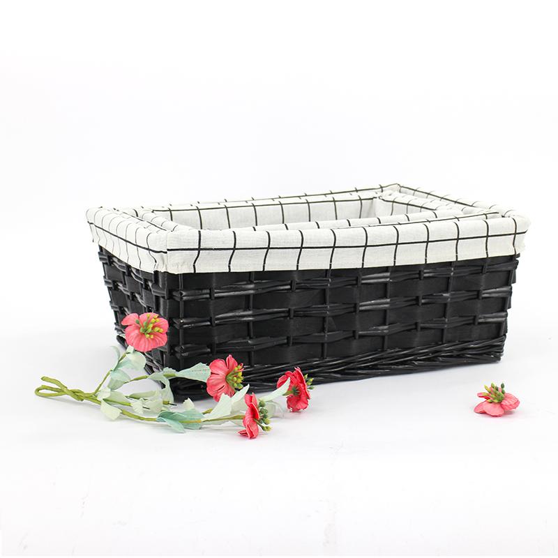 De moda personalizada de mimbre de almacenamiento cestas bin contenedor/organizador caja con el forro de tela