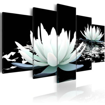 Canvas Art Painting Oil Buddha Orchid Flower Picture Living Room Natural Scenery Pop 5 Panel Landscape Wall Decor