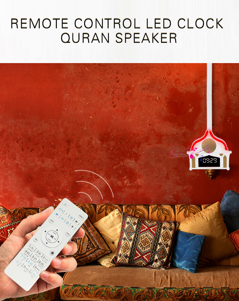 holy islamic gift APP control blue tooth free download surah mp3 quran speaker Uzbek haji digital led clock alquran player