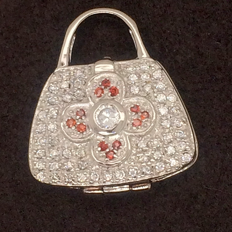 Latest Ladies Fashion 925 Sterling Silver Red Cz Four-Leaf Flower Mini Bag Pendant