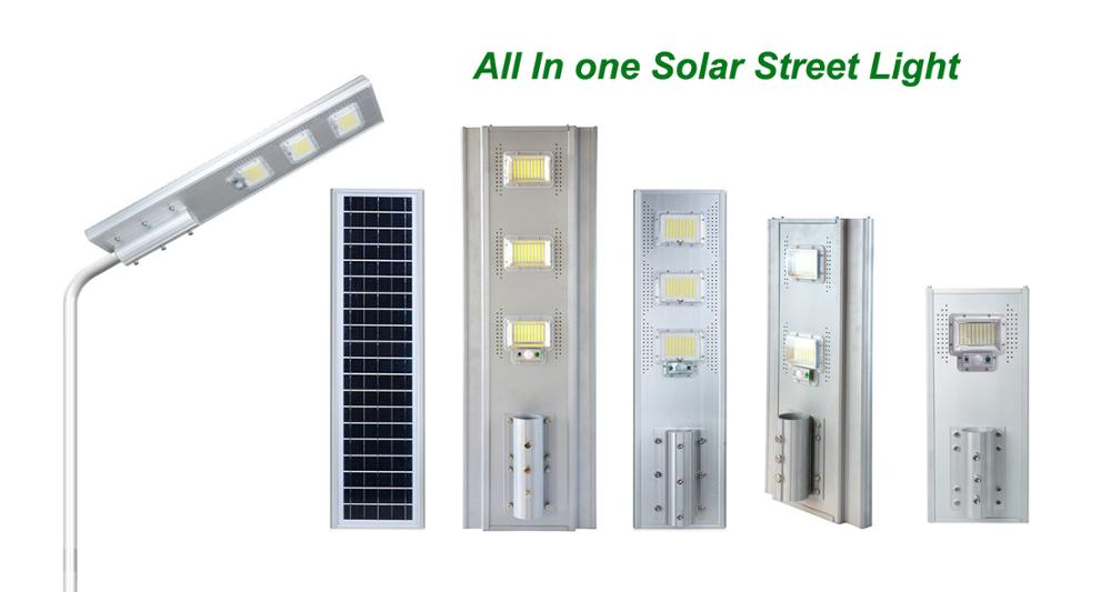 Solar Powred Energy Saving Outdoor Lighting IP65 Waterproof Luminaire Integrated All In One LED Reflector Solar Street Light