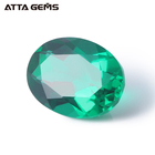 Hydrothermal Grown Emerald 8*6mm 1 Carat Oval Cut Zambian Emerald Loose Gemstones