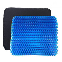 Factory Custom Breathable Honeycomb Design Absorbs Pressure Points Soft Gel Seat Cushion with Non-Slip Cover
