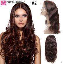 DreamDiana Ombre волнистые человеческие волосы парик два тона блонд бордовый 150 плотность Remy Малазийские Волосы Wigs13x4 кружевной передний парик L(Китай)