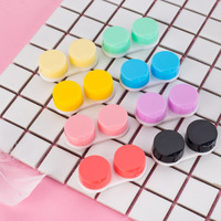 cheap small contact lens case colorful dual box sweet candy case lens contact