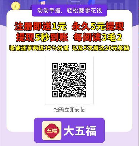大五福app:转发一次被阅读奖励0.32-0.6元,永久5元提现。插图