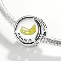 Real 925 sterling silver lovely Banana Enamel Yellow Charms Beads Fit Charms Bracelets Jewelry making Wholesale lots bulk