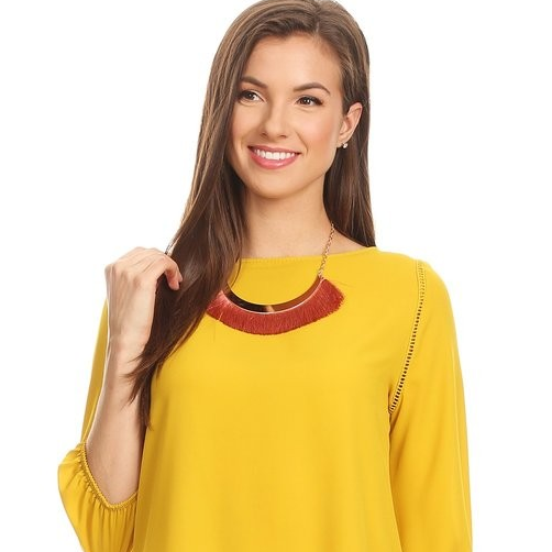 Wholesale short sleeve formal <strong>ladies</strong> chiffon top <strong>Cotton</strong> <strong>Blouse</strong> with decorative necklace