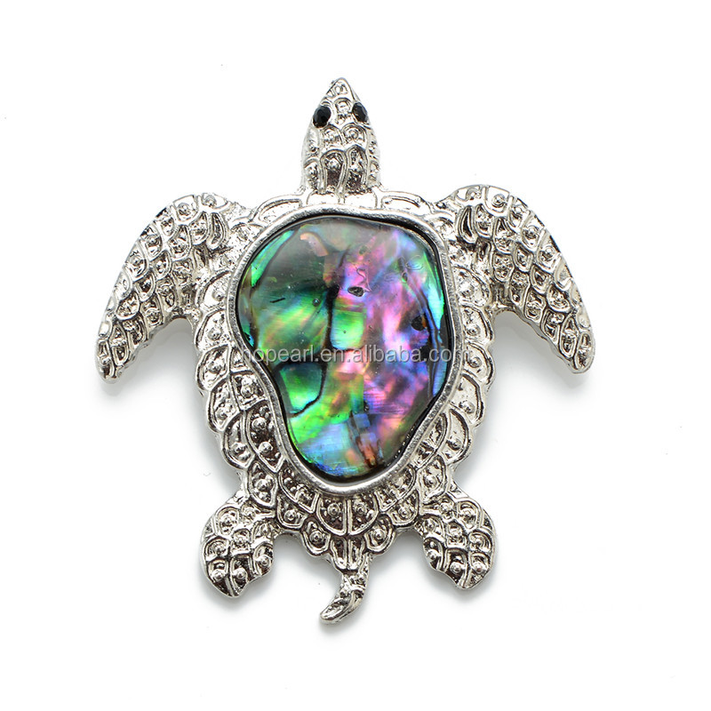 MOP22 Turtle Abalone Shell Pendant Ocean Themed Jewellery made with Real Paua Shell