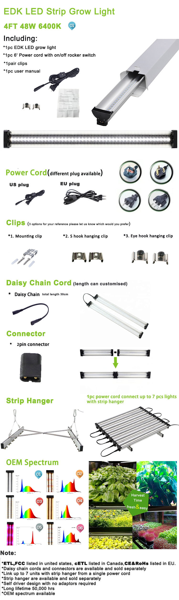 hydroponics equipment vegetable growing 48 inch 48w chip led board aquarium tomato strip grow light 4 foot housing