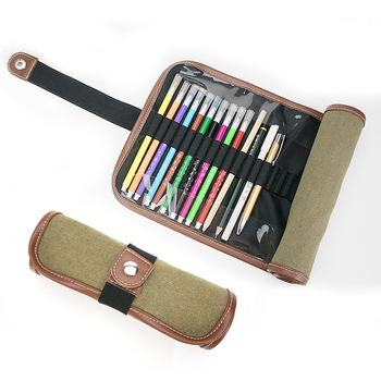 Custom Canvas Rolls Stationery Cases Bag School Pen Pouch Rolling Pencil Case
