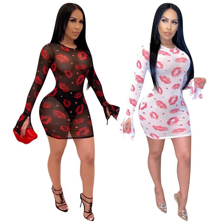 Vestidos casuais roupas femininas 2020 vestidos de verão alargamento da luva sexy transparente vestidos bodycon das mulheres