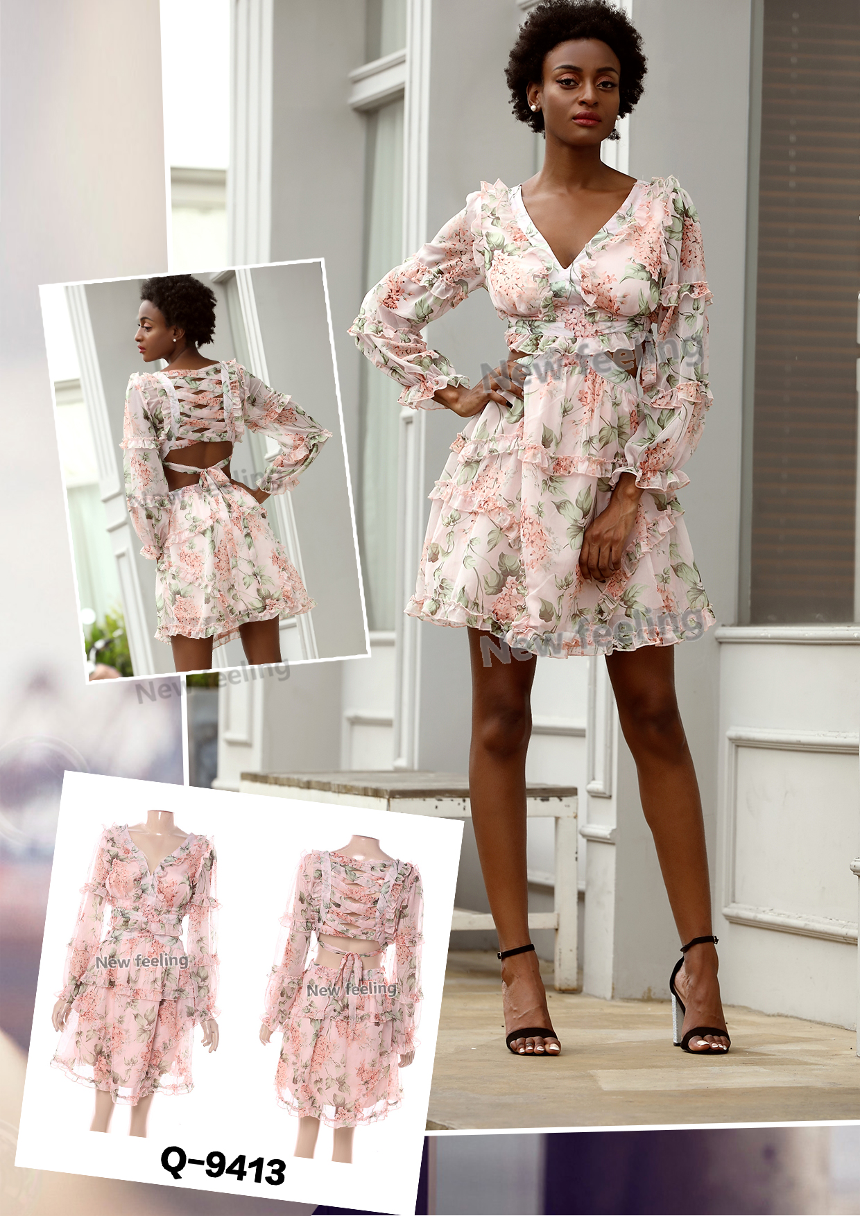 Floral Long Sleeve Tiered Dress V-neck Women Casual Dress