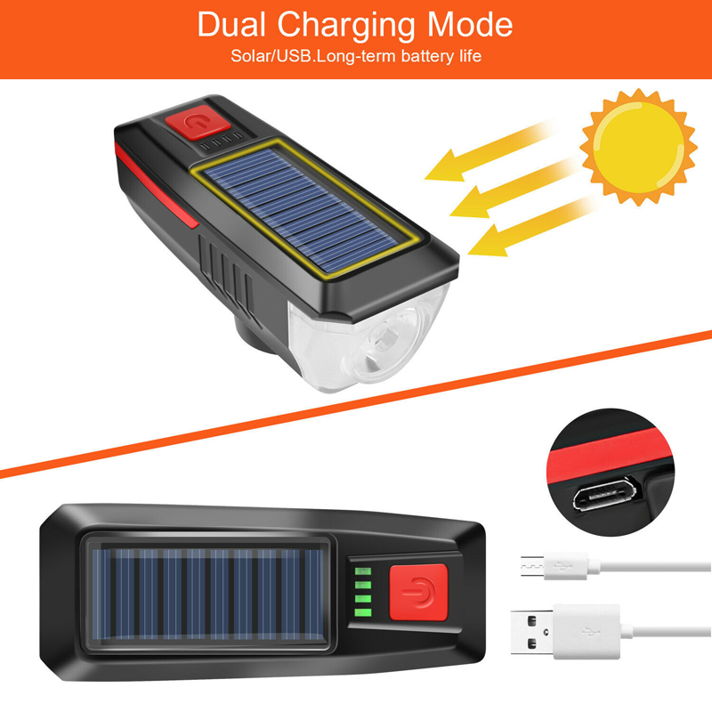 Newest Solar Bike lights USB Rechargeable bicycle LED lights Front Alarm bike accessories Cycle bike lamp equipment