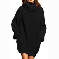 custom pocket long sleeve queen oversize loose pullover jumper knitwear heavy winter high neck turtleneck sweater dress