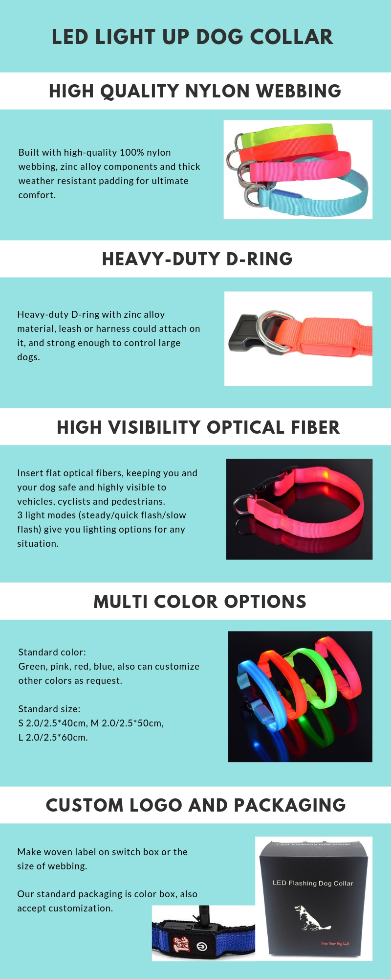 Pet Suppliers Hot Selling Durable Battery  Luminous LED Dog Collar