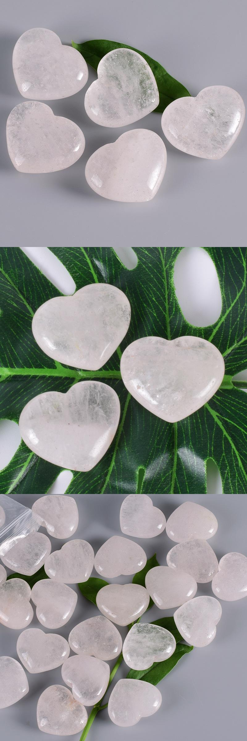 Healing stones large heart shaped clear quartz pendant carved