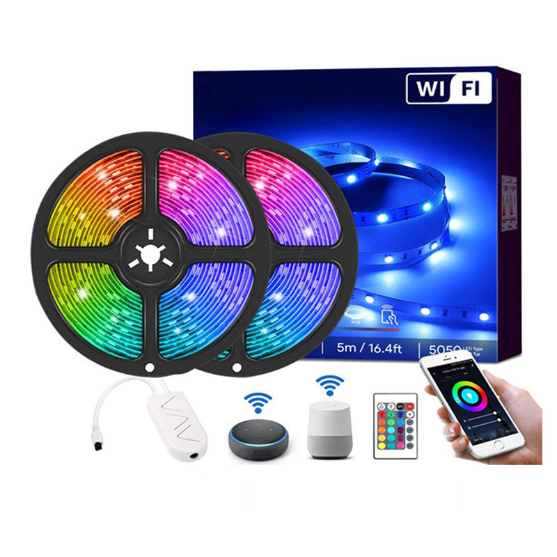 Custom WiFi Wireless Smart Phone App control led  Light Strip SMD5050 RGB LED Strip Lights