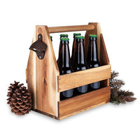 Wooden Bottle Caddy with Opener Sampler Boards Drink Holder for Beer Soda Bar Pub Restaurant Brew Fest Party Handcrafted Bottle