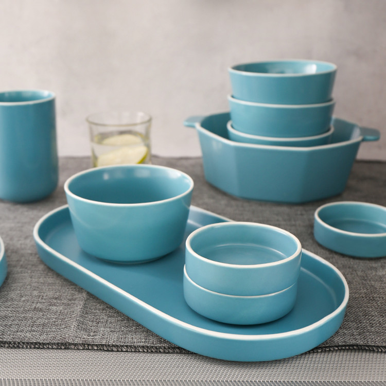 Restaurant fine choose porcelain blue unbreakable stoneware dinnerware