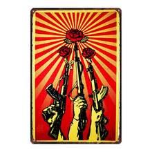 【YZFQ 】 фотопистолет металлическая Античная защита для животных Оловянная пластина настенный плакат бар художественное украшение DU-8078B(Китай)