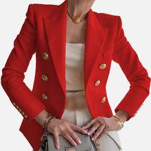 Женский офисный блейзер с вырезами, однотонный белый приталенный короткий пиджак с длинным рукавом, Новинка осени, двубортный Женский блей...(Китай)