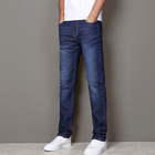 In Stock Custom Wholesale New Fashion Stretch Washed Straight Fit Slim Jeans for Men