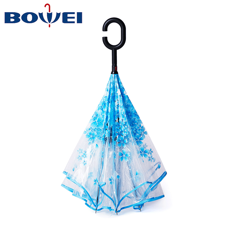 clear transparent windproof hook C handle sakura flower inverted cherry blossom reverse open poe transparent umbrella