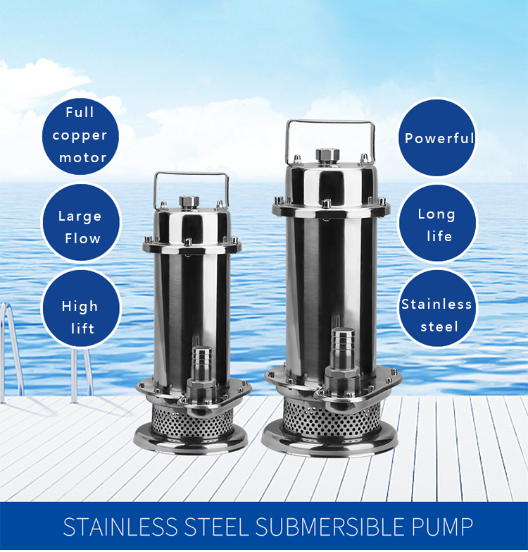 QDX Anti-Corrosion 304 Chemical Sewage Pump Stainless Steel Submersible Pump