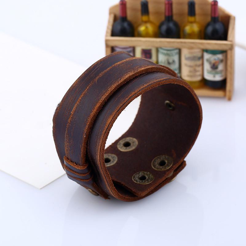 Punk Rock Jewelry Wide Genuine Leather Mens Bangle Cuff Bracelet