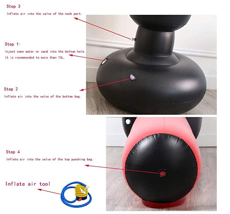 Fitness Inflatable Kids Punching Bag Stress Punch Tower Speed Bag for Children Teens Adult