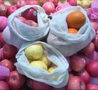 Hot Sale reusable drawstring cotton mesh bag for fruit and vegetables