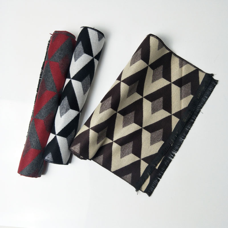 New cashmere-like scarf for winter 2019 men's jacquard diamond double-sided warmth and cold protection