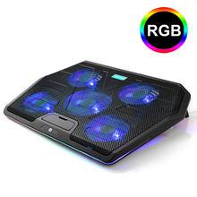 TeckNet игровой ноутбук охлаждающая подставка 5 RGB светодиодный вентилятор Мощный воздушный поток Регулируемая охлаждающая подставка для ноут...(Китай)