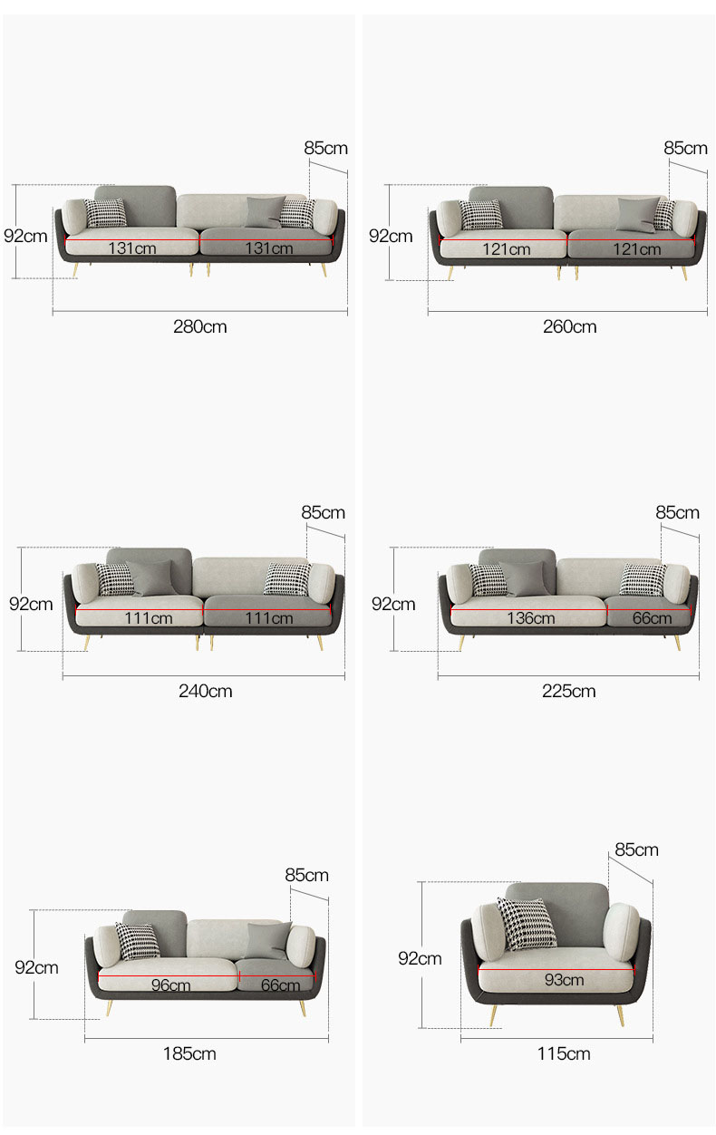 Light luxvry sofas bed fabric drawing room Furniture small apartment modern European small family Living Room sofas set