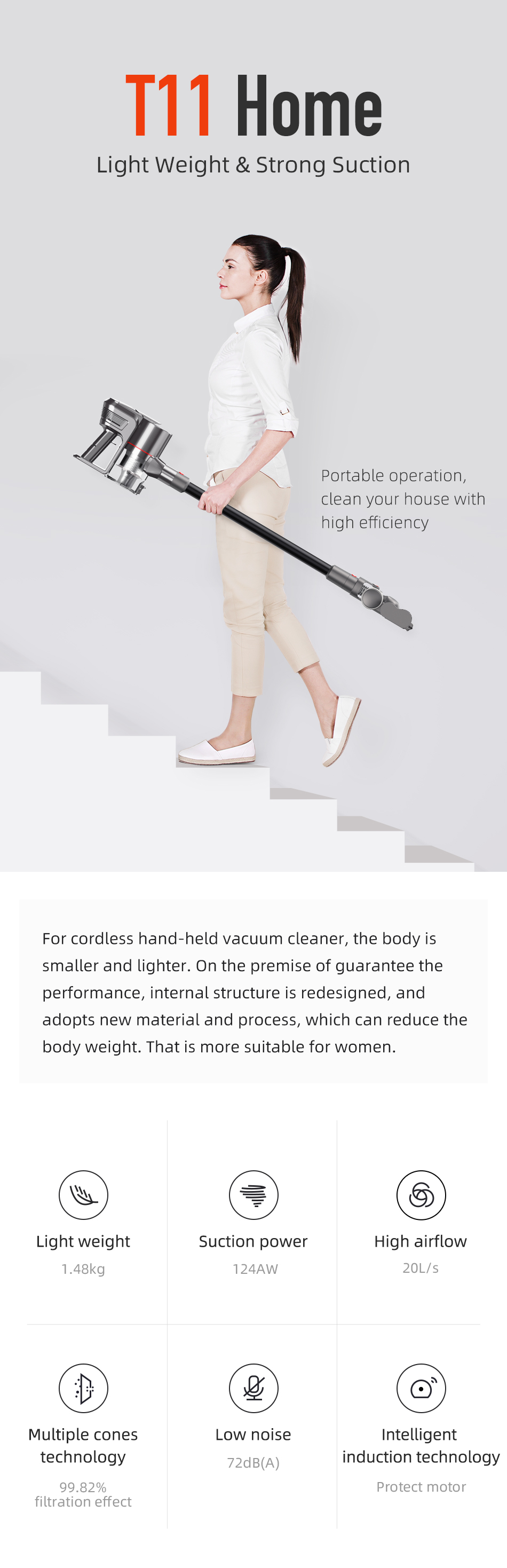 Puppyoo New Arrival T11 Home Portable Cordless Vacuum Cleaner
