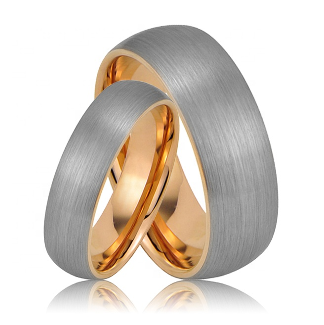 DOME BRUSHED MENS WEDDING RING ROSE GOLD TUNGSTEN RING MEN WOMEN