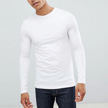 Mens fitness kleding <span class=keywords><strong>spier</strong></span> fit lange mouwen plain wit custom gym t-shirt
