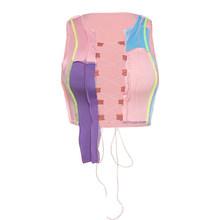 Simenual Для женщин лоскутное Асимметричный топ 2020 летняя модная женская обувь на шнуровке с завязкой спереди облегающие Короткие топы с вырез...(Китай)