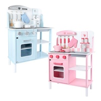 Wholesale OEM blue and pink Child Pretend Miniature Wooden Kitchen Role Play Toys Sets For Kids KJ6937