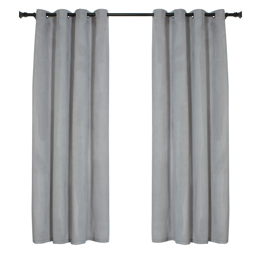 Ready Made Senior Grey Grommet Blackout Luxury Velvet <strong>Curtains</strong>