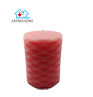 Paraffin Material and Home Decoration Use Red Color Carved Pillar candle for sale