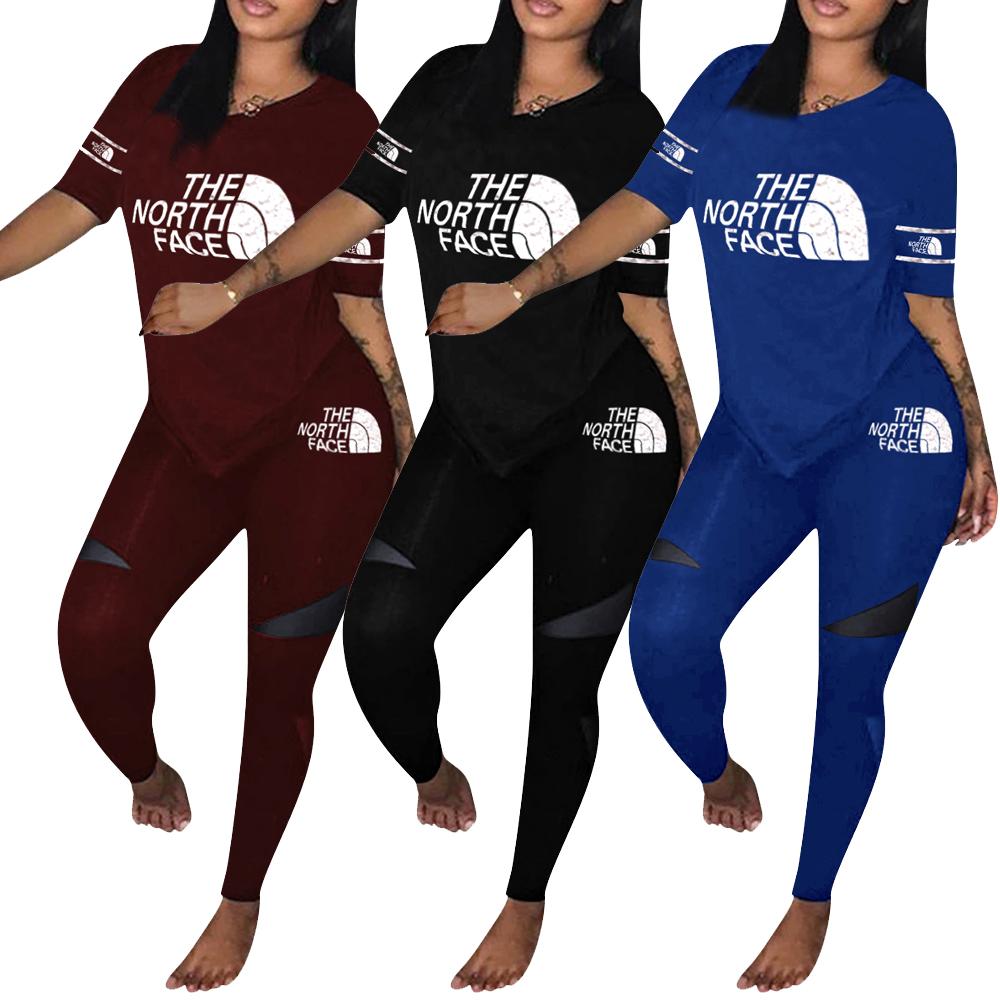 H1292 2020 новые женские повседневные футболки с короткими рукавами комплект из 2 предметов