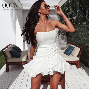OOTN Party Night Dress Women White Black Off Shoulder Ruffles Female Dress Autumn Hot Pure Lace Up Sexy Bodycon Pleated Dress