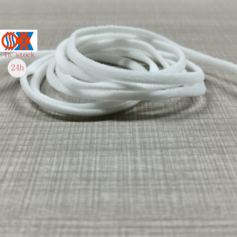 High Quality Chinlon <strong>Elastic</strong> <strong>Rope</strong> 3mm White Round <strong>Elastic</strong> Earloop <strong>Elastic</strong> Ear <strong>Rope</strong>
